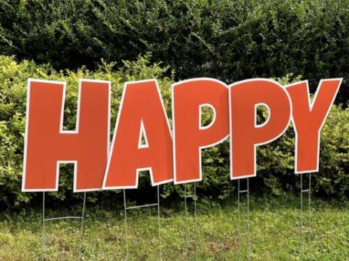 orange happy birthday yard card letters