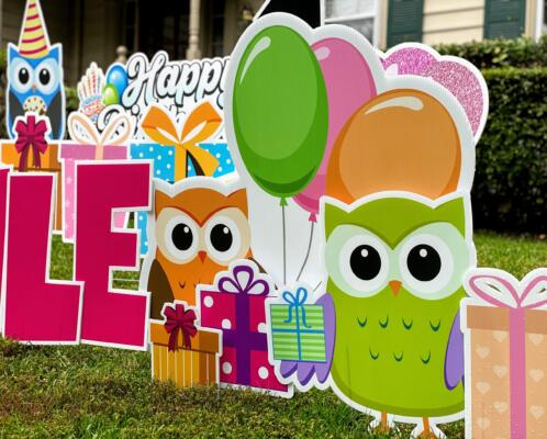 owls themed 3rd birthday yard card springfield, va