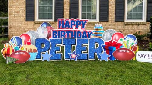 peter red white and blue birthday yard card burke va