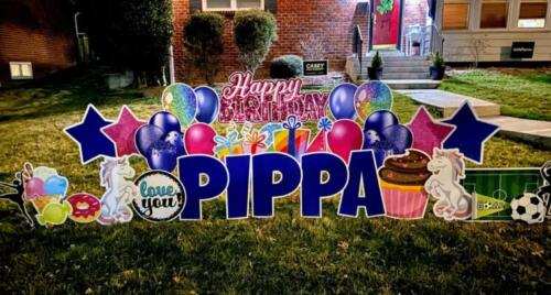 pippas birthday yard card alexandria va
