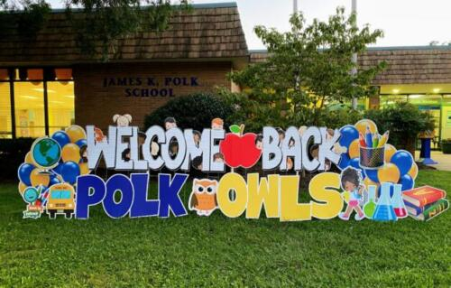 polk owls welcome back to school yard signs alexandria va