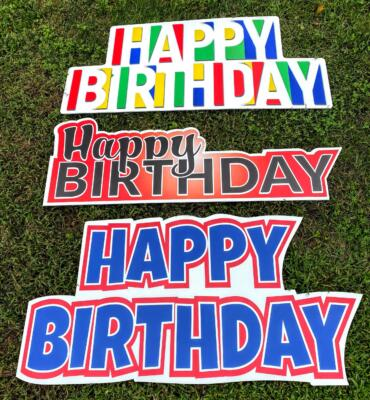 primary colors happy birthday yard signs