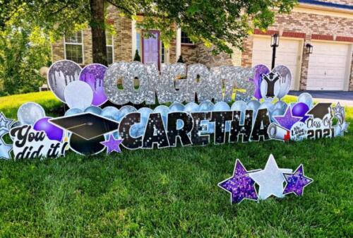 purple and silver congrats yard card burke va