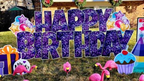 purple disco happy birthday lawn letters