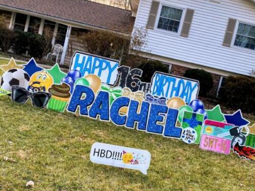 rachel 16th birthday yard card springfield va