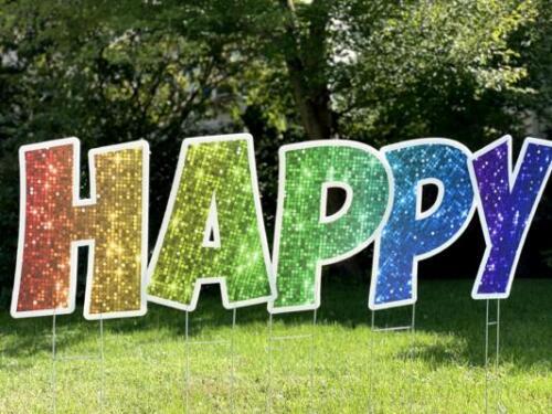 rainbow happy birthday yard card letters burke va