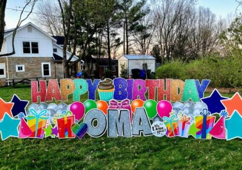 rainbow happy birthday yard card arlington va