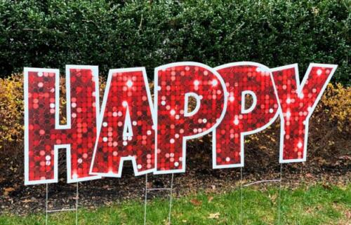 red sparkle happy yard sign letters springfield va