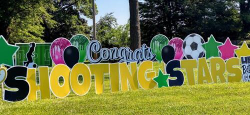 shooting stars soccer congrats yard sign alexandria va