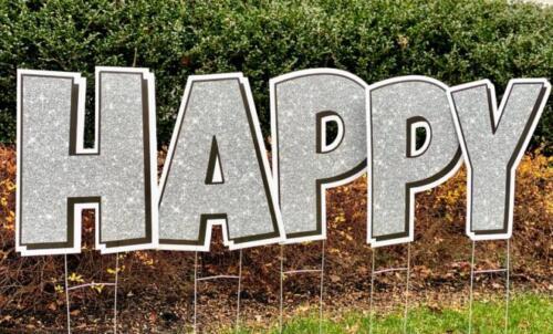 silver glitter happy yard sign letters springfield va