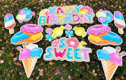 so sweet donut birthday theme yard cards