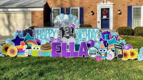 teal and purple happy birthday yard card falls church va