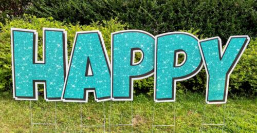 teal glitter happy birthday yard card letters