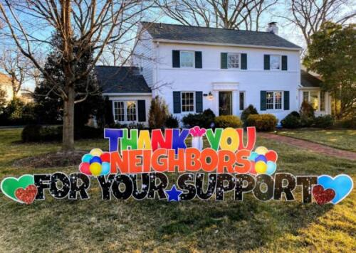 thank you neighbors yard card alexandria va