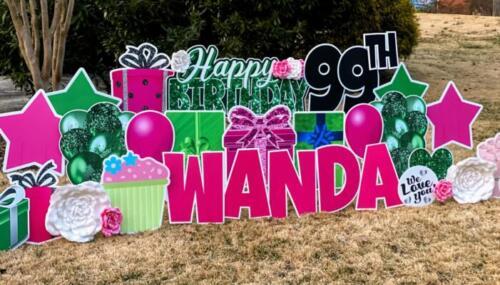 wanda 99th birthday yard card