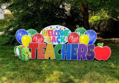 welcome back teachers yard card