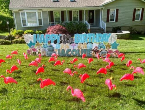yard sign flamingo flocking fairfax va