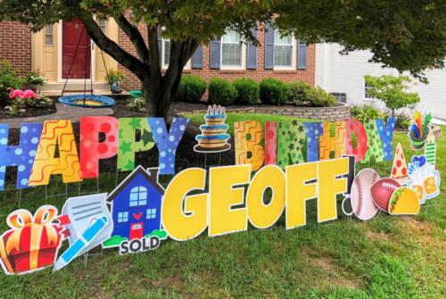 happy birthday crazy letters yellow geoff